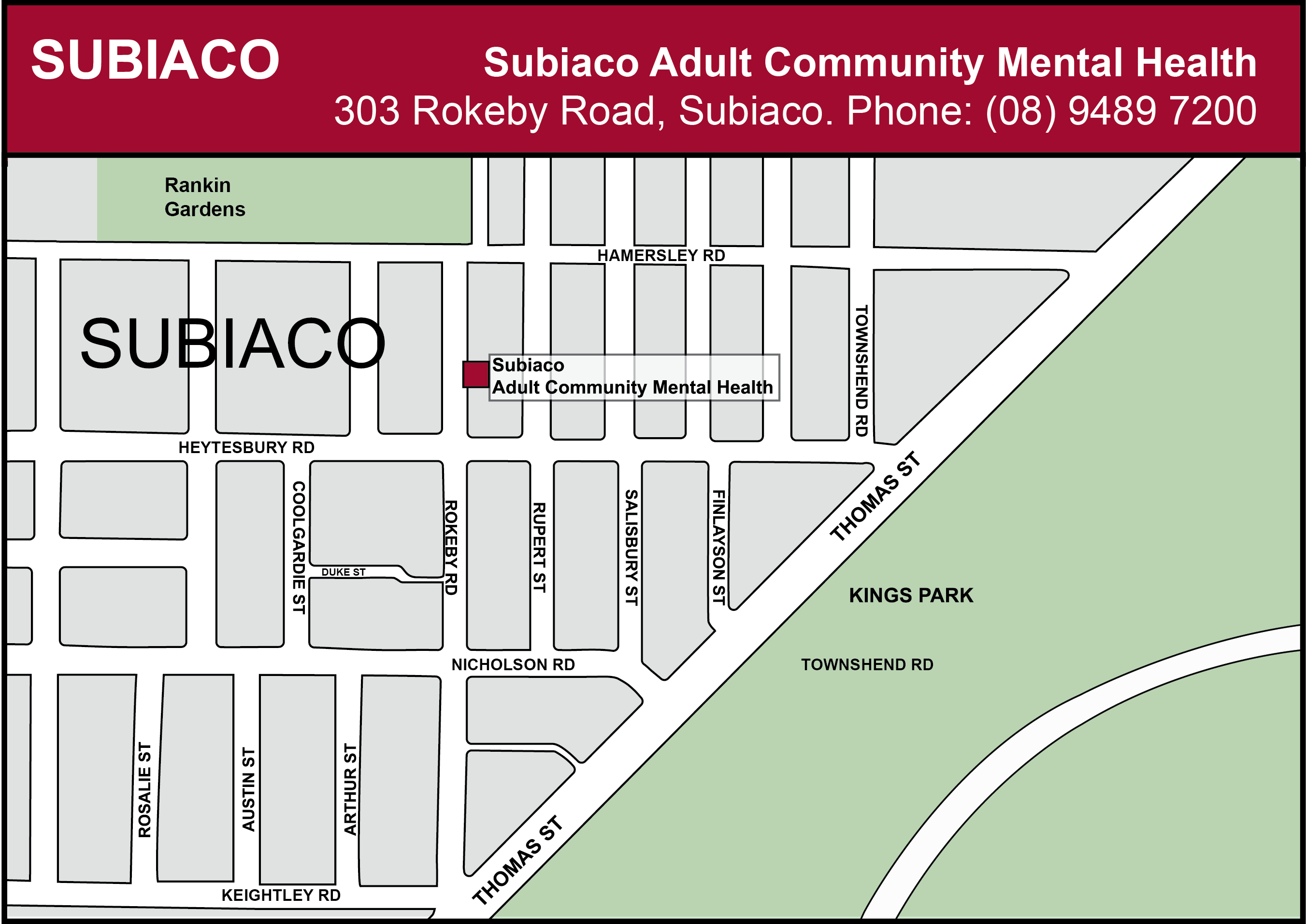 Subiaco Adult Community Mental Health map